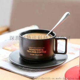 新骨瓷色釉咖啡杯蝶可以烤花定制图案文字和logo
