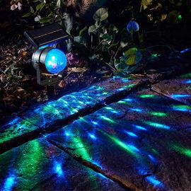 七彩旋转太阳能投影灯光控感应太阳能草坪灯