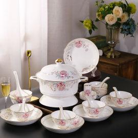 陶瓷碗盘碟定制定做厂家景德镇高档陶瓷餐具套装厂家