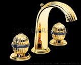 Serdaneli水龍頭黑色瓷器和鍍金