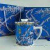 达美瓷业茶水分离杯 陶瓷茶具 骨质瓷茶漏盖杯