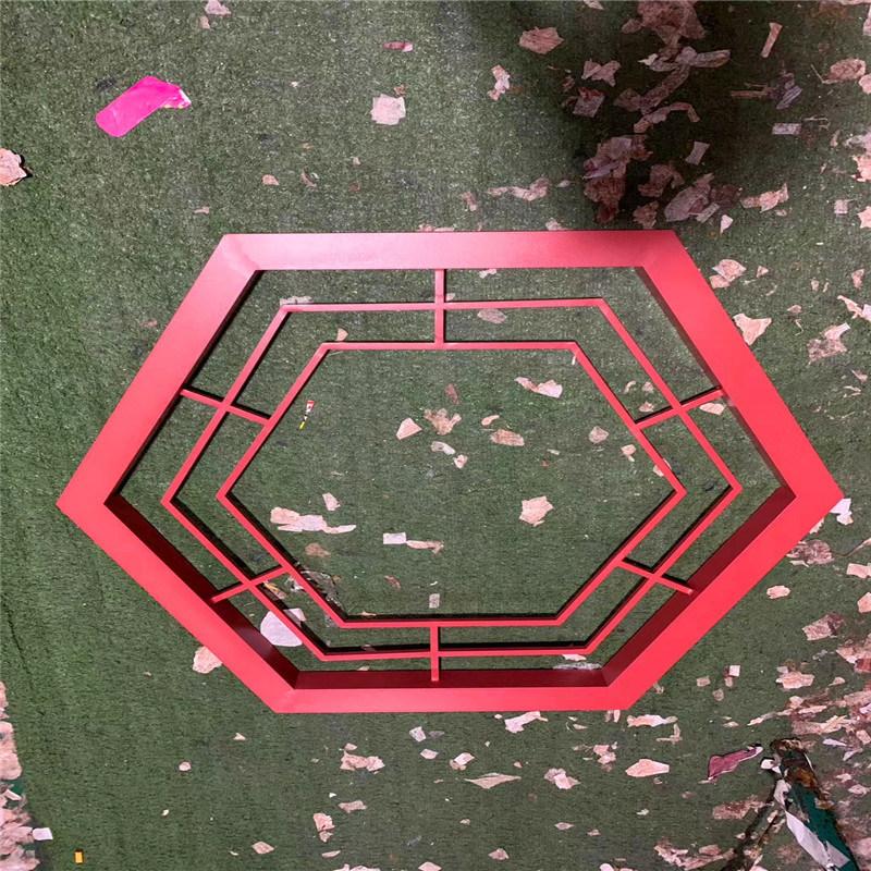 六角紅色鋁窗花 圓形仿古鋁合金窗花