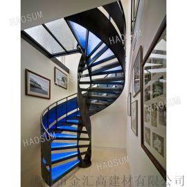 旋转楼梯 玻璃发光旋转楼梯 轻奢玻璃楼梯