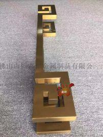 定制酒店大门钛金不锈钢拉手、艺术钛金不锈钢拉手