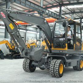 四驱轮式挖掘机 80中小型轮挖 国产轮式挖沟机