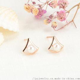 品艺珠宝18K金淡水珍珠耳环AU750耳环