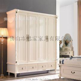 美式乡村实木衣柜卧室欧式拉门大衣柜木质衣橱美式家具