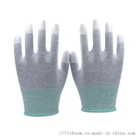 立特邦 灰色 指浸PU防静电手套 13针涂指手套