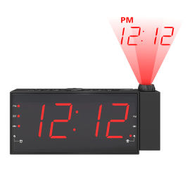 大屏1.8寸LED投影闹钟USB充电钟控收音机