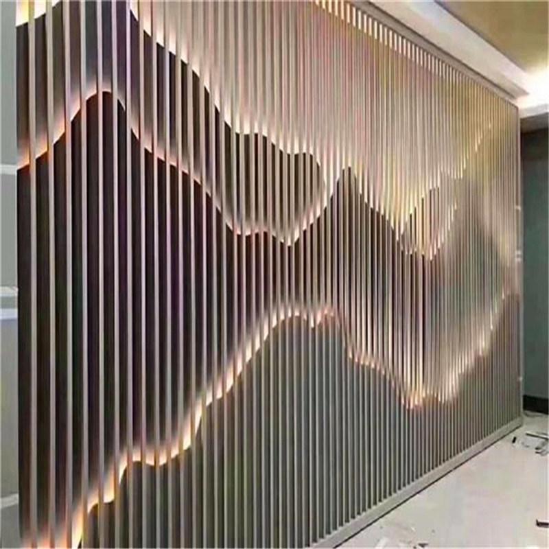 山形凹凸背景牆鋁合金格柵 波浪造型立面牆鋁格柵隔斷