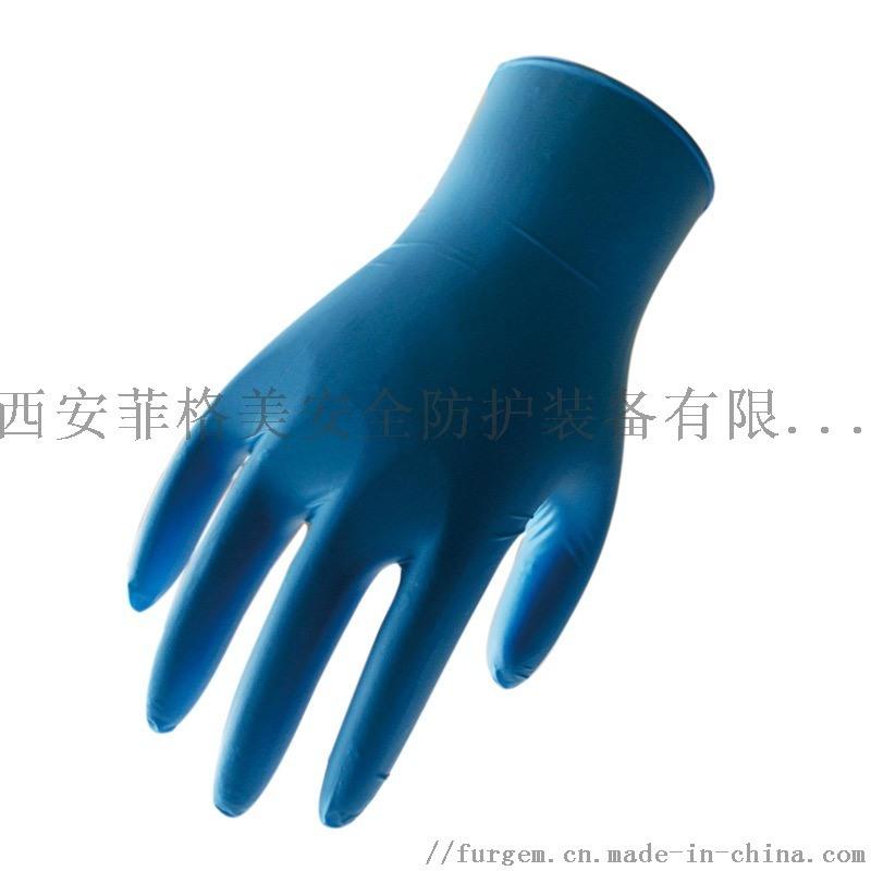 3.5克光面指麻無粉藍色一次性丁腈手套