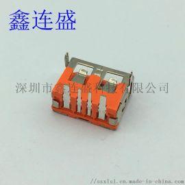 USB 母座大电流短体6.3厚前 两脚直边 橙色