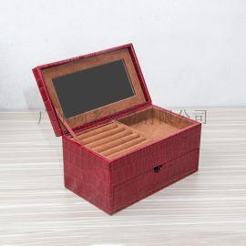 红色鳄鱼牛皮珠宝首饰盒储物收纳皮制首饰盒