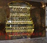 不锈钢酒柜玫瑰金酒柜生产,豪华家用不锈钢酒架