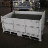 折叠周转箱金属物流箱 堆垛箱可堆折叠式铁板物料箱