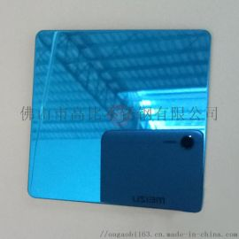 会所装饰墙板定制 高比不锈钢 镜面蓝色图片