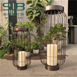 中式庭院鸟笼灯镂空设计小区广场草坪灯街道特色灯