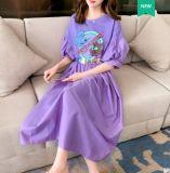 夏季紫色連衣裙女收腰显瘦气质2020年新款宽松韓版法式泡泡袖長裙
