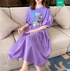 夏季紫色連衣裙女收腰顯瘦氣質2020年新款寬鬆韓版法式泡泡袖長裙