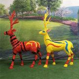 佛山玻璃鋼彩繪鹿雕塑、玻璃鋼模擬動物造型雕塑