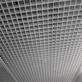 食府吊顶木纹铝格栅 黑色四方格铝格栅吊顶 厂家直销