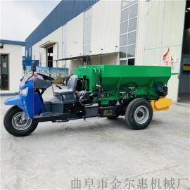 三轮车自走式撒粪车/双甩盘式有机肥撒粪机