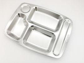 深圳出口304不鏽鋼五格快餐盤疫情食堂就餐餐盤
