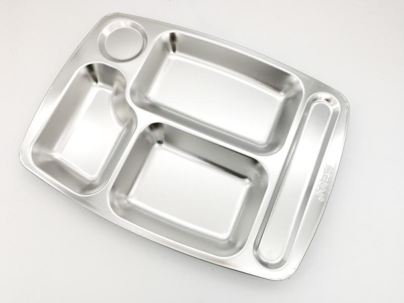 深圳出口304不锈钢五格快餐盘**食堂就餐餐盘