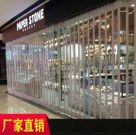 珠海定制商场横向水晶拉闸门弧形水晶折叠门透明卷帘门