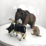 直訂 模擬動物組合 大象野牛鱷魚模型擺件