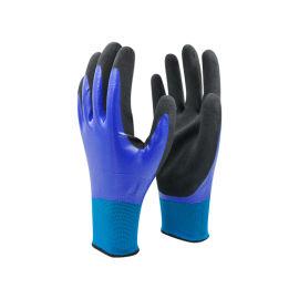 13针涤纶丁腈全浸磨砂浸掌手套