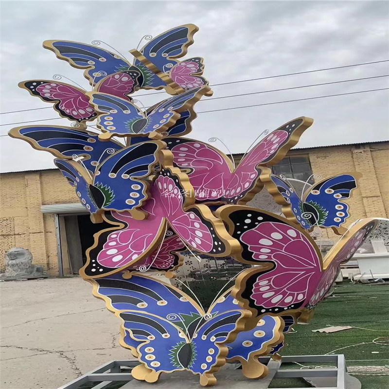 广州庭院景观蝴蝶雕塑 仿真彩**雕塑模型