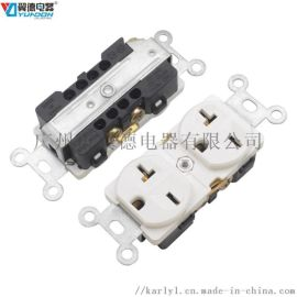 美标双联插座 美式墙壁插座 美规双位电源插座