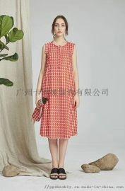 广州品牌折扣女装修身显瘦百搭荷叶边连衣裙尾货折扣