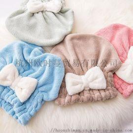 韩版可爱蝴蝶结浴帽,超细纤维干发帽,可爱公主浴帽