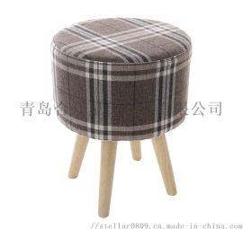格子圆凳 布圆凳 换鞋凳 实木腿小凳子