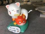 以假亂真陶瓷美術藝術館小貓咪吃魚、撲魚捕魚雕塑小品
