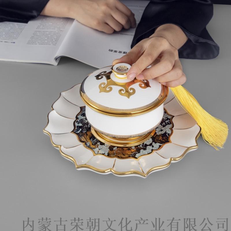 大汗碗 内蒙特色寓意瓷器碗酒店用蒙古元素瓷具碗
