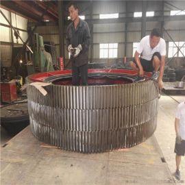 焊接弹簧板分体结构154齿18模数回转式滚筒铸钢包膜机大齿轮