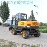 小型挖掘機 輪胎式液壓挖機帶錘 80小型輪挖 捷克