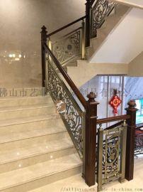 湖北黄冈豪华镂空镀金酒店楼梯搭配丰富质感