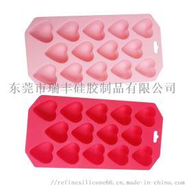 硅胶生活用品 14格心形硅胶冰格模具 爱心巧克力模