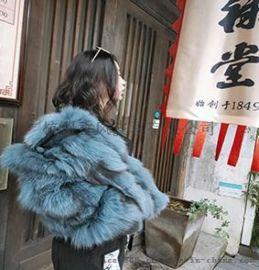 恋香风品牌女装折扣冬季新款丹麦狐狸毛大衣外套可售