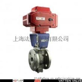 上海法登阀门电动衬 V型球阀,化工物料切断V型球阀