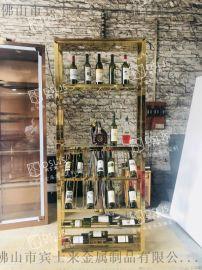 杭州不锈钢酒架大型落地不锈钢酒架拉丝面镜面酒架