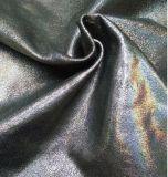 進口黑色皺面幻彩貼膜山羊皮-同睿皮革