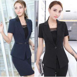 厂家供应夏季新款时尚条纹西装套装女士职业装OL办公室制服工作服