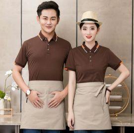 夏季时尚餐饮公司连锁店服务员工作服短袖T恤西饼屋韩式料理工装