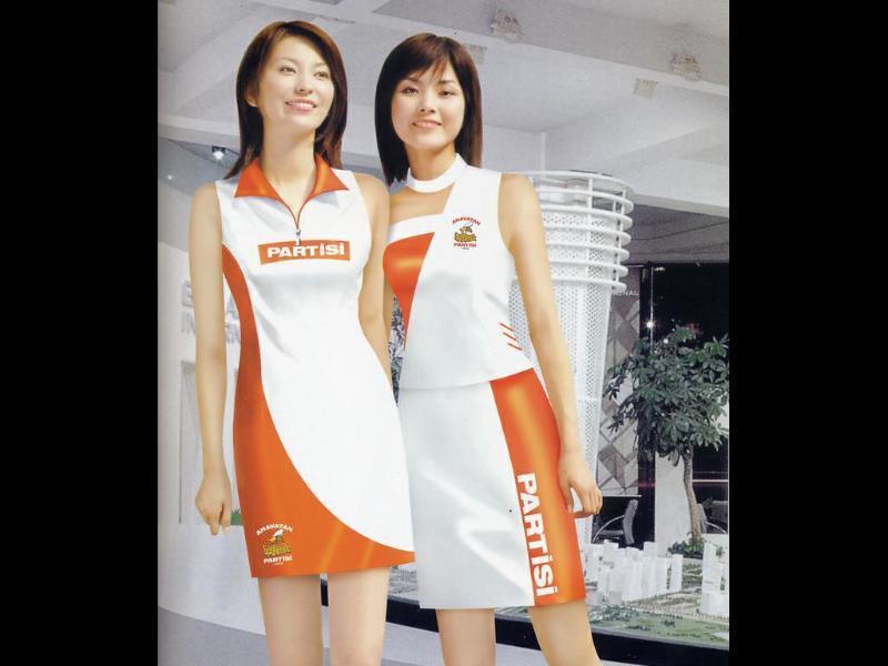厂家定做酒类亮面弹力宣传服商场女式促销服装