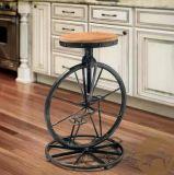 美式乡村金属做旧铁艺实木吧台椅 ,车轮式酒吧椅黑色